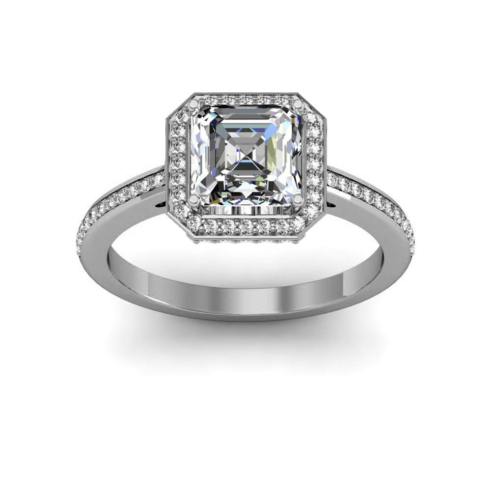 591703acbeb4a 1.69ct. natural diamond asscher cut cathedral pave flat tab halo natural  diamonds engagement ring 14k white gold gia
