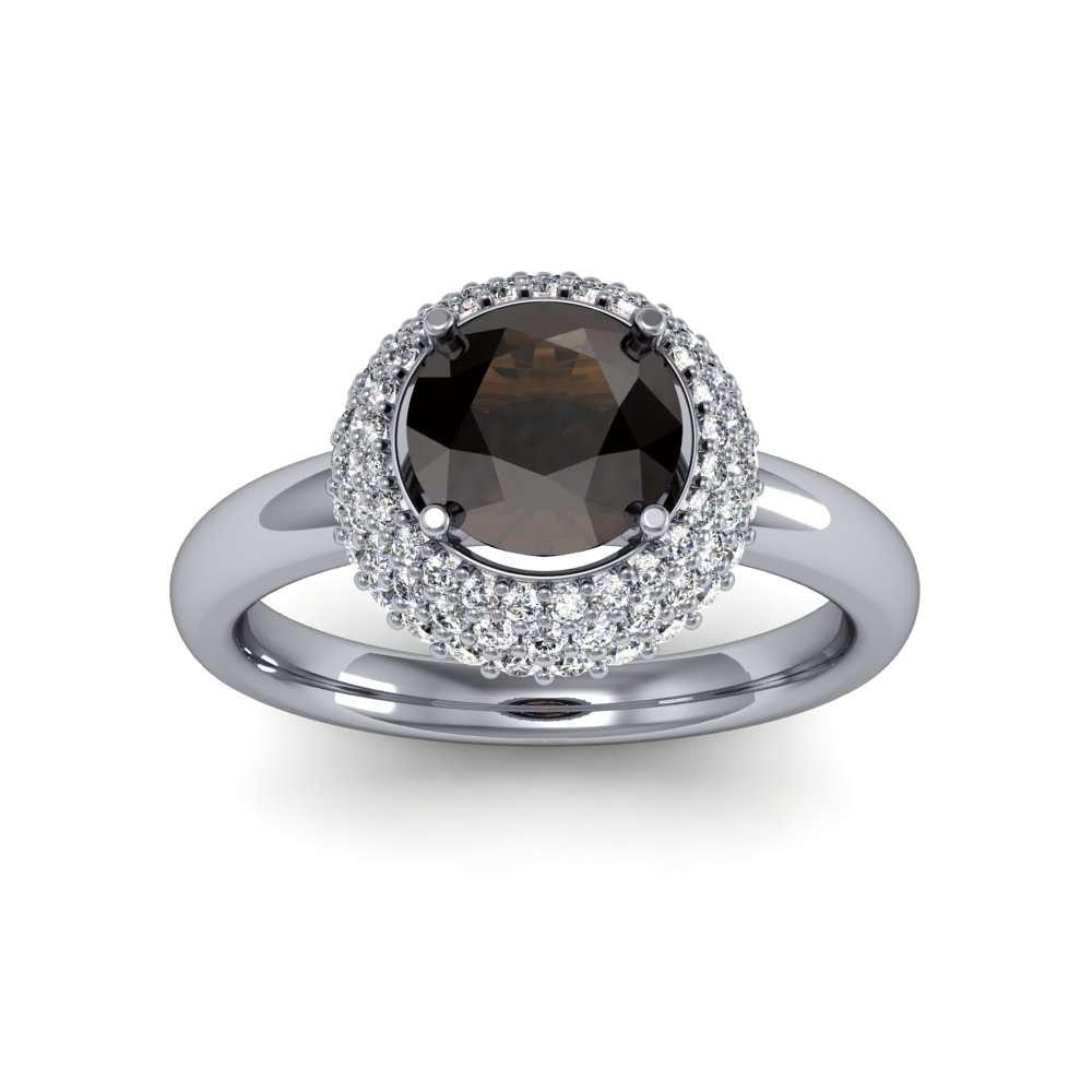 3 Row Halo Micro Pave Diamond Engagement Ring