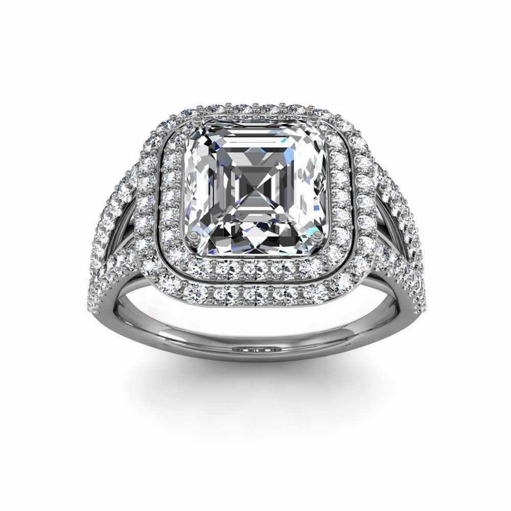 Double Row Princess Cut Halo Engagement Rings