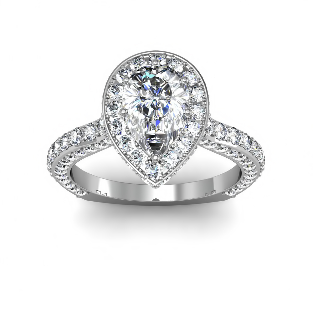 pave pear shaped halo art deco engagement rings - Pear Shaped Wedding Rings