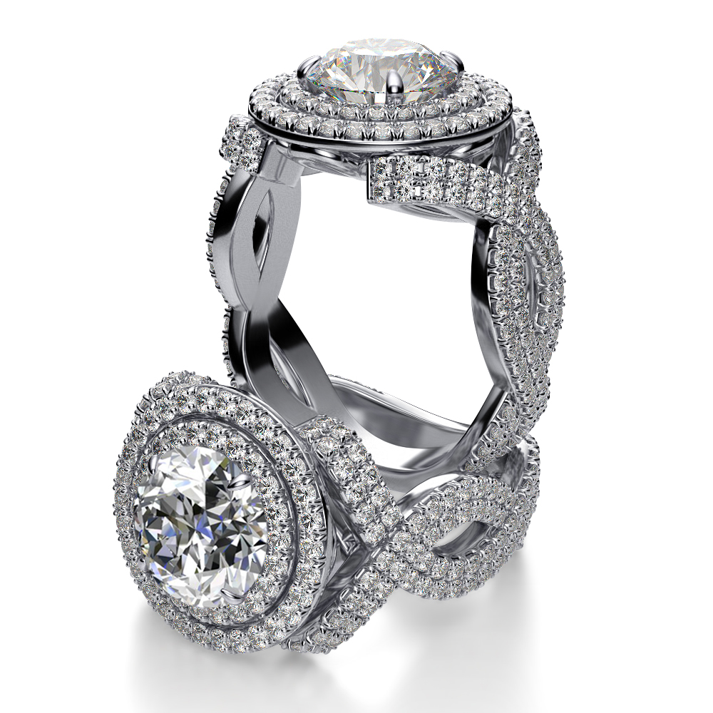 double halo infinity shank pave diamond engagement ring. Black Bedroom Furniture Sets. Home Design Ideas