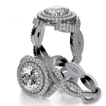 Two Tone Bridal Wedding Ring Sets