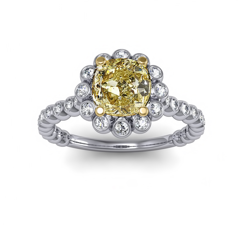 Halo Bezel Cluster Floral Diamond Engagement Ring