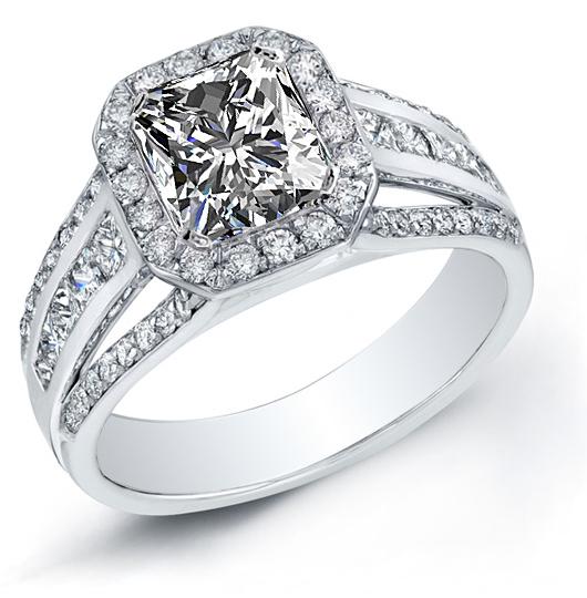 Natural Channel Pave Diamond Split Shank Engagement Ring