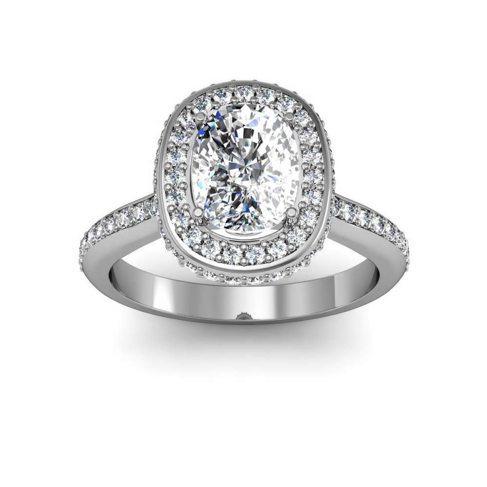 Side Profile Square Halo Engagement Rings