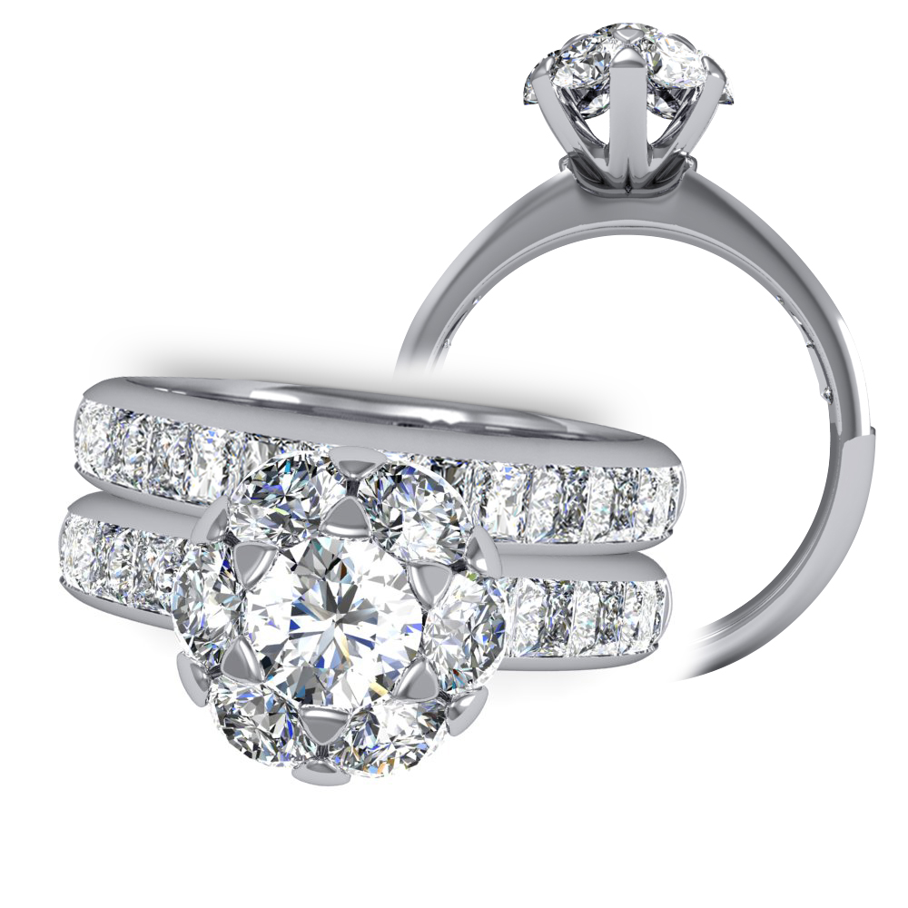Halo Floral Decorative Cluster Channel Diamond Engagement Ring