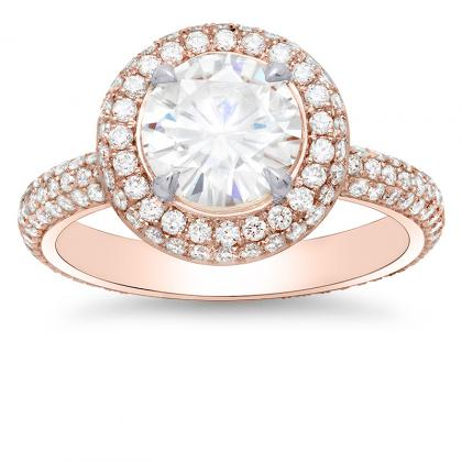 Micro Pave Rose Gold Engagement Rings