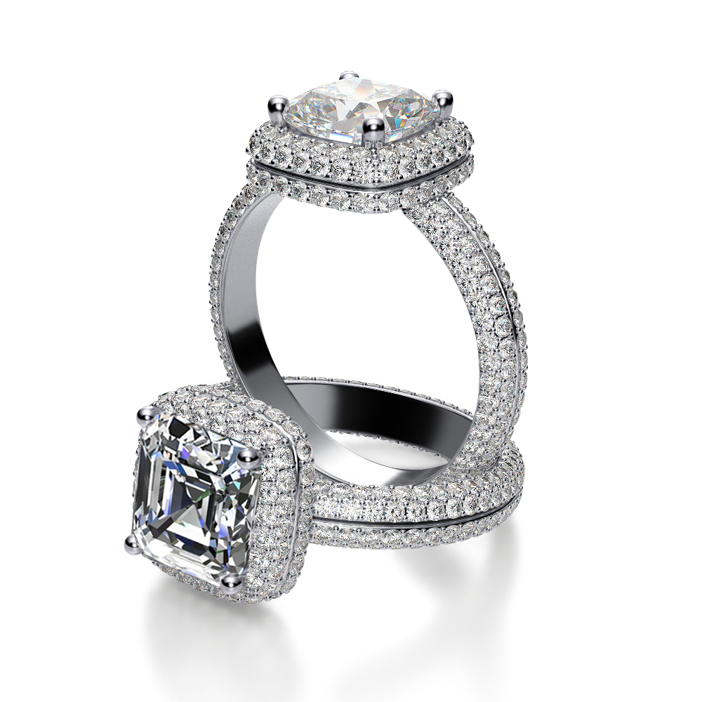 Halo Micro Pave Eternity Diamond Engagement Ring