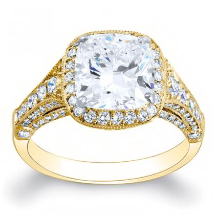 micro pave yellow gold engagement rings
