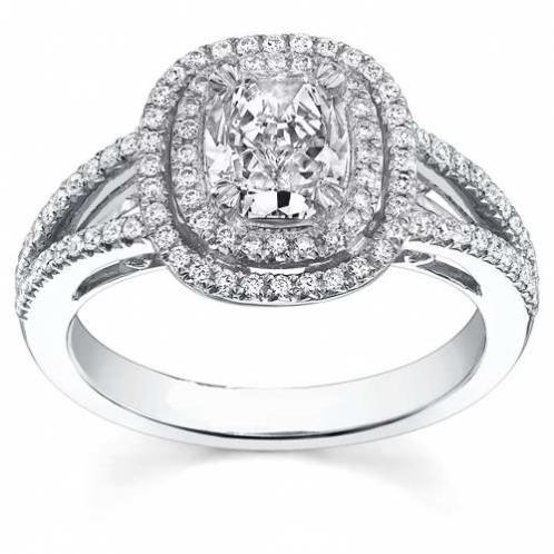 Natural Double Halo Pave Split Shank Engagement Ring