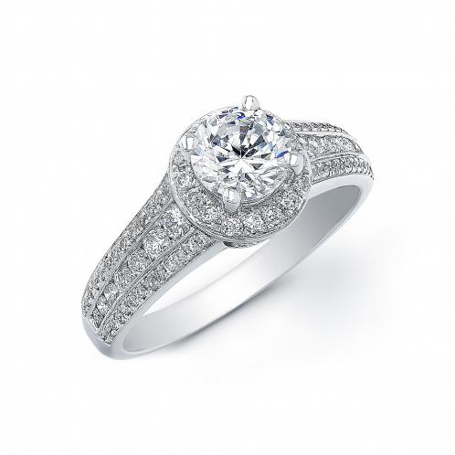 3-Row Shank Halo Pave Diamond Engagement Ring