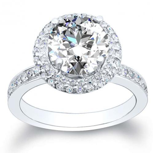 Natural Halo Pave Diamond Engagement Ring