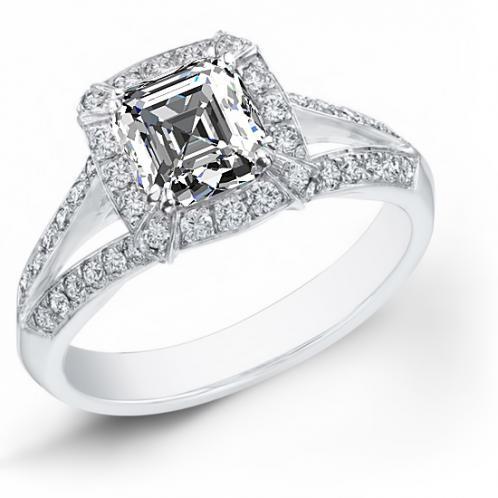 Natural Halo Pave Setting Split Shank Diamond Engagement Ring