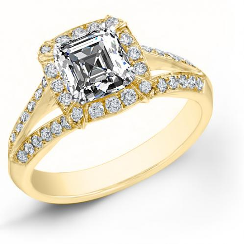 Natural Halo Pave Setting Split Shank Diamond Engagement Ring