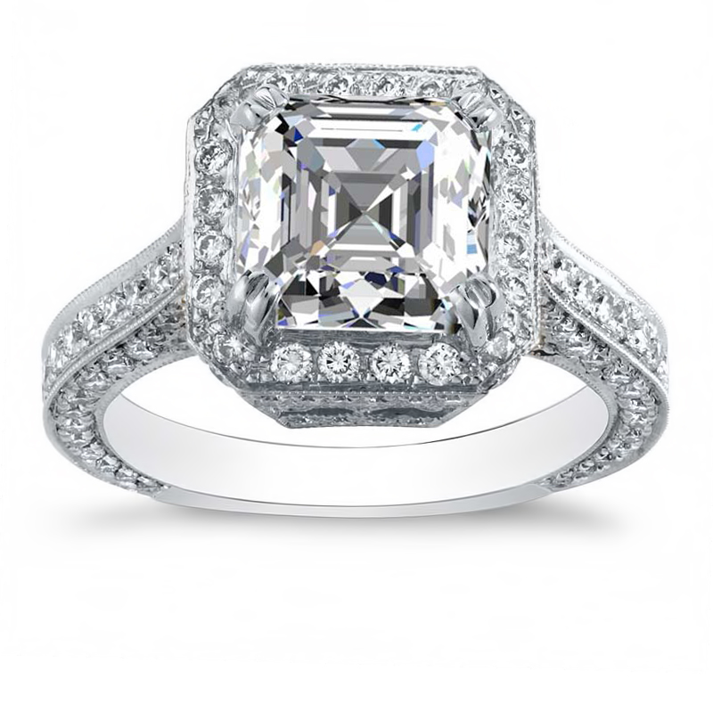 3 Sided Pave Halo Diamond Engagement Ring