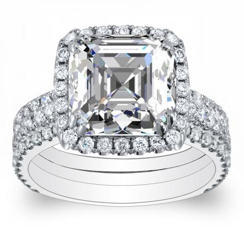 3-Shank Pave Halo Natural Diamonds Engagement Ring