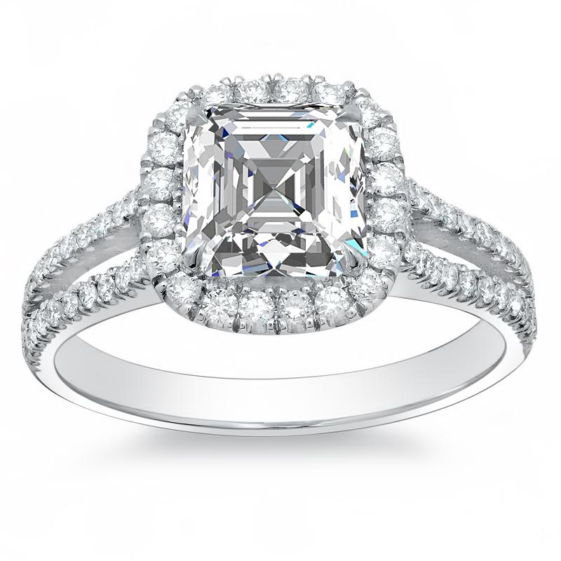 Halo Split Shank Natural Diamond Engagement Ring