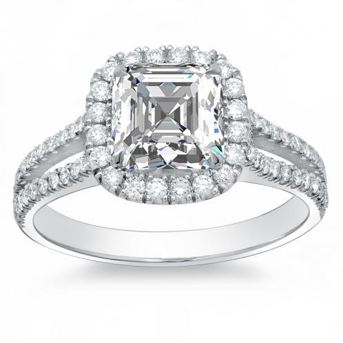 Halo Split Shank Natural Diamond Engagement Ring