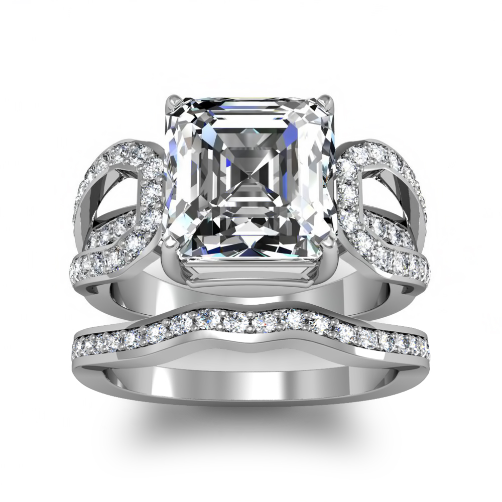 Split Shank Pave Natural Diamonds Engagement Ring