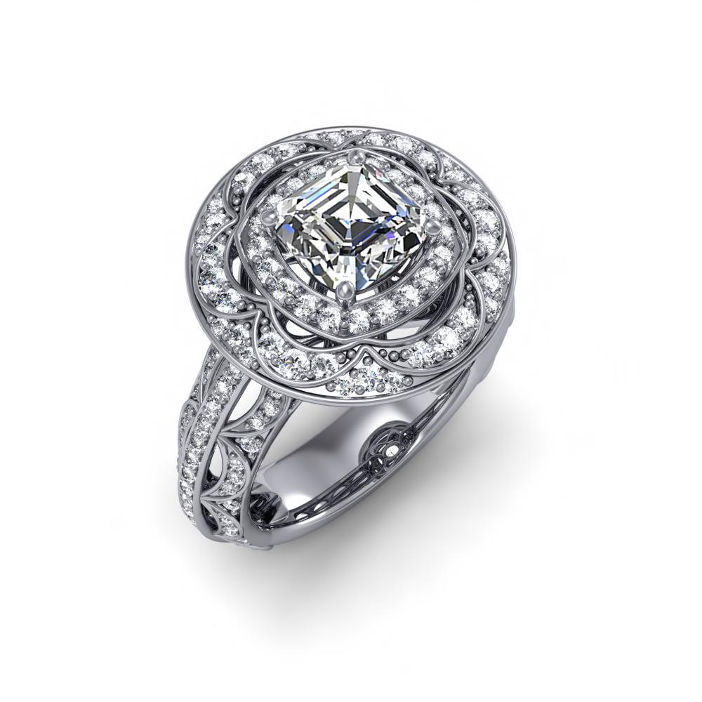 D//VVS1 2.60 Ct Asscher Cut Ring Platinum Over