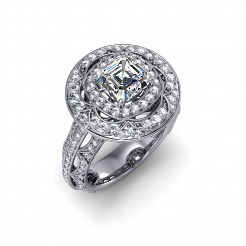 Halo Decorative Cluster Pave Diamond Engagement Ring