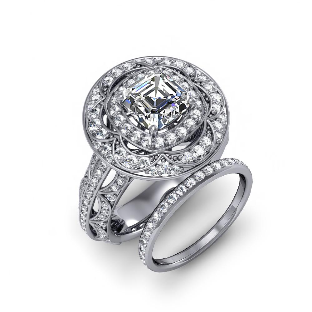 Halo Decorative Cluster Pave Diamond Engagement Ring