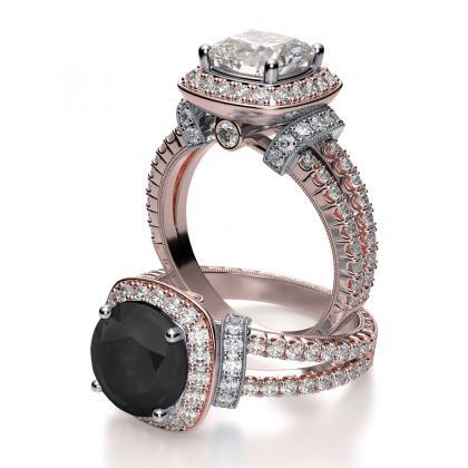 Black Diamond And Rose Gold Enement Rings | Rose Gold Black Diamond Engagement Rings