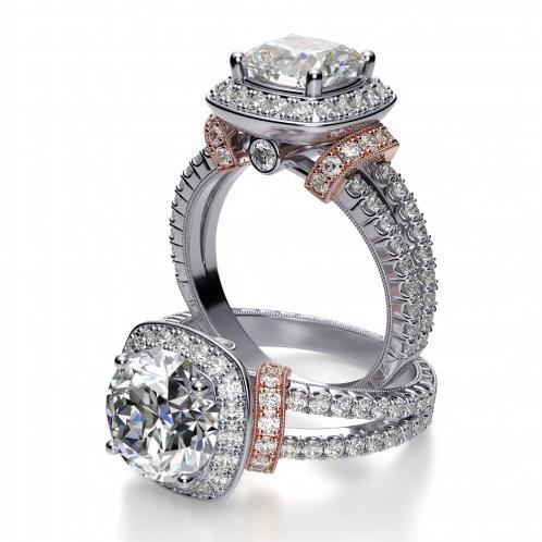 Halo Split Shank Shoulder Pave Diamond Engagement Ring