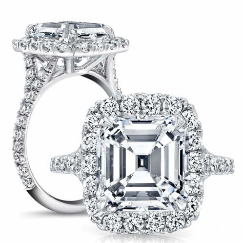 Halo Pave Split Shank Diamond Engagement Ring
