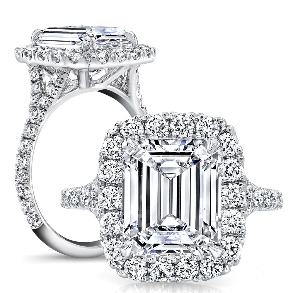 Natural Halo Pave Split Shank Diamond Engagement Ring