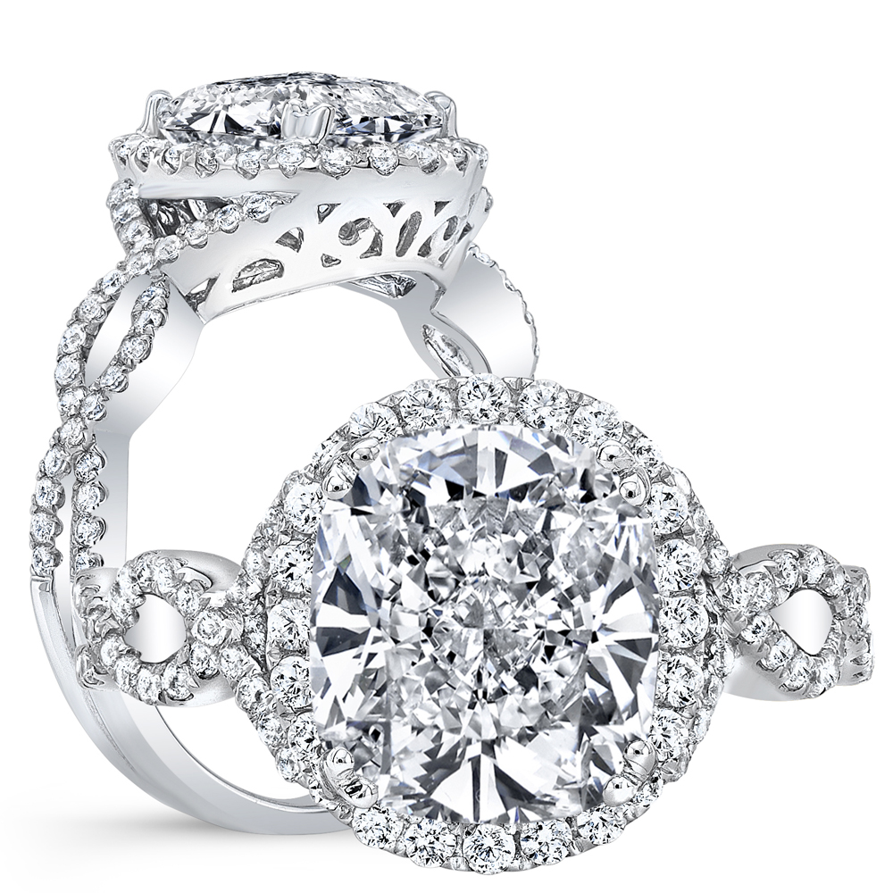 Halo Pave Infinity Design Shank Diamond Engagement Ring