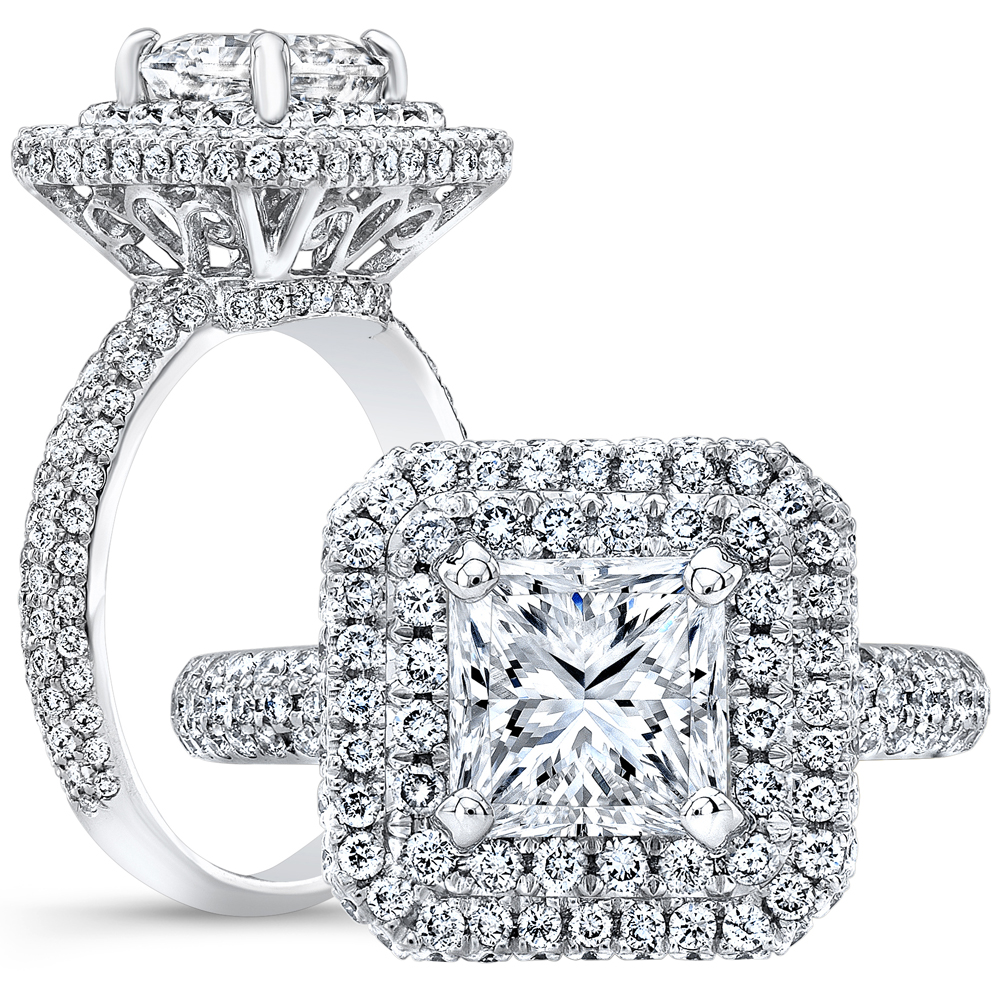2 8 Ct Princess Cut Natural Diamond Vintage Double Halo Pave 3 Row Pave Diamond Engagement Ring Gia Certified
