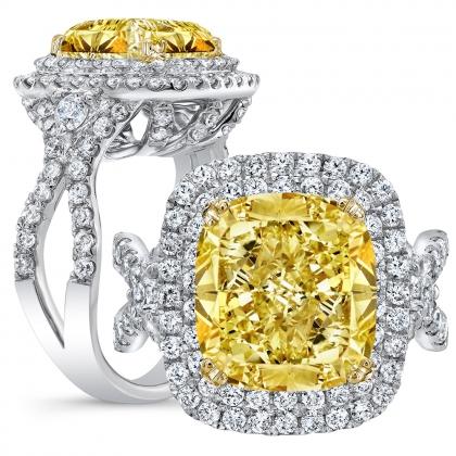 Double Halo Yellow Diamond Engagement Rings