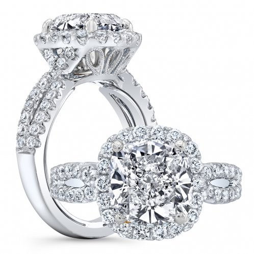 Halo Pave Twist Split Shank Milgrains Diamond Engagement Ring