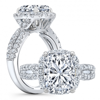 Double Halo Radiant cut Engagement Rings