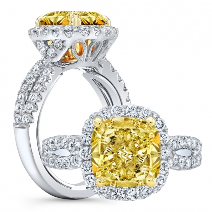 Double Halo Yellow Diamond Engagement Rings