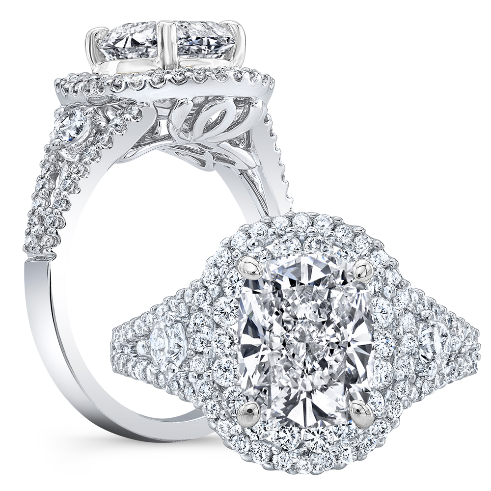 Double Halo Pave Split Shank Side Stones Diamond Engagement Ring