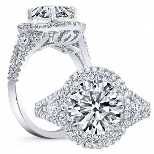 Double Halo Pave Split Shank Side Stones Diamond Engagement Ring