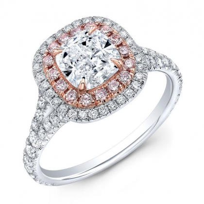 Double Halo Cushion cut Engagement Rings