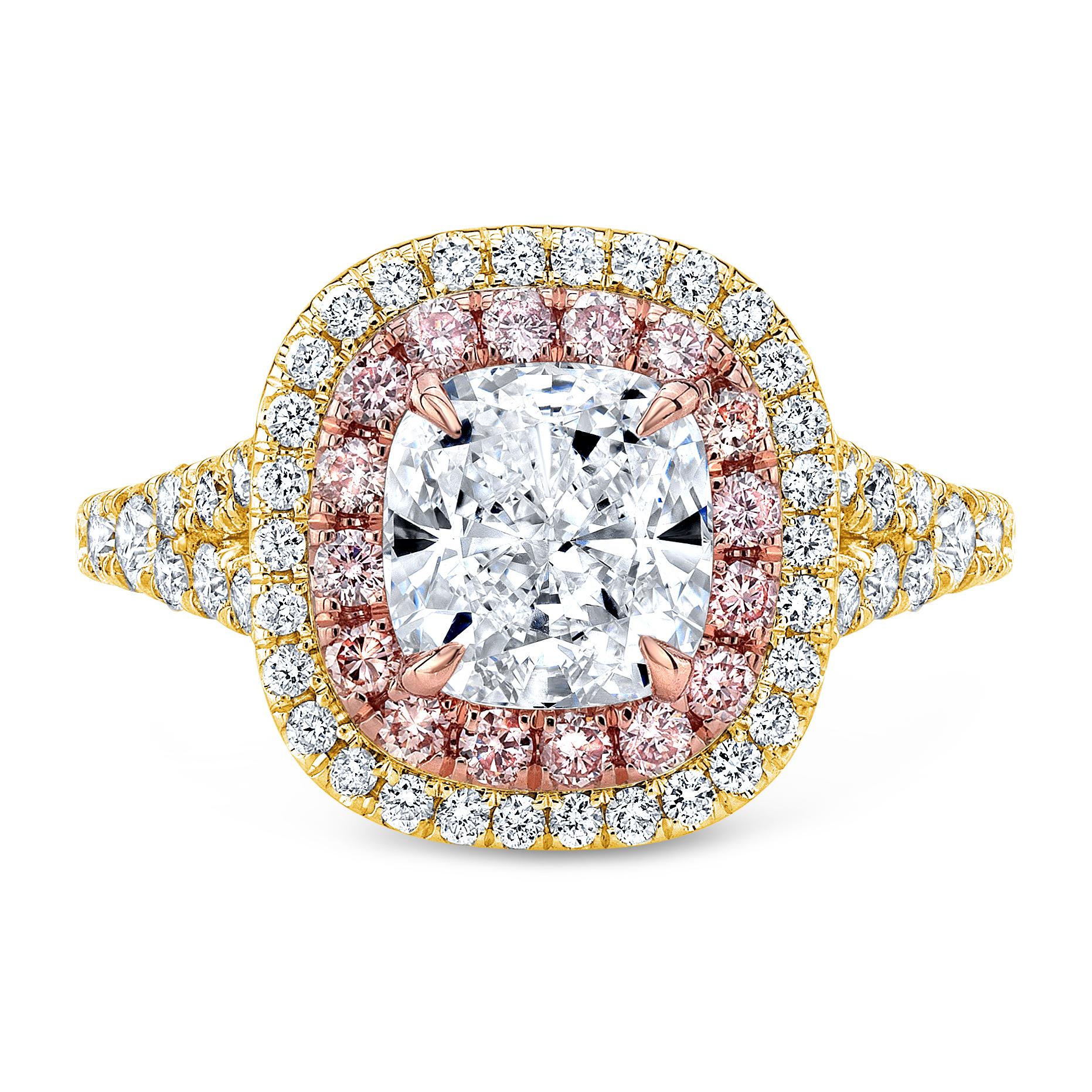 Double Halo Split Shank w/ Intense Pink Diamonds Engagement Ring