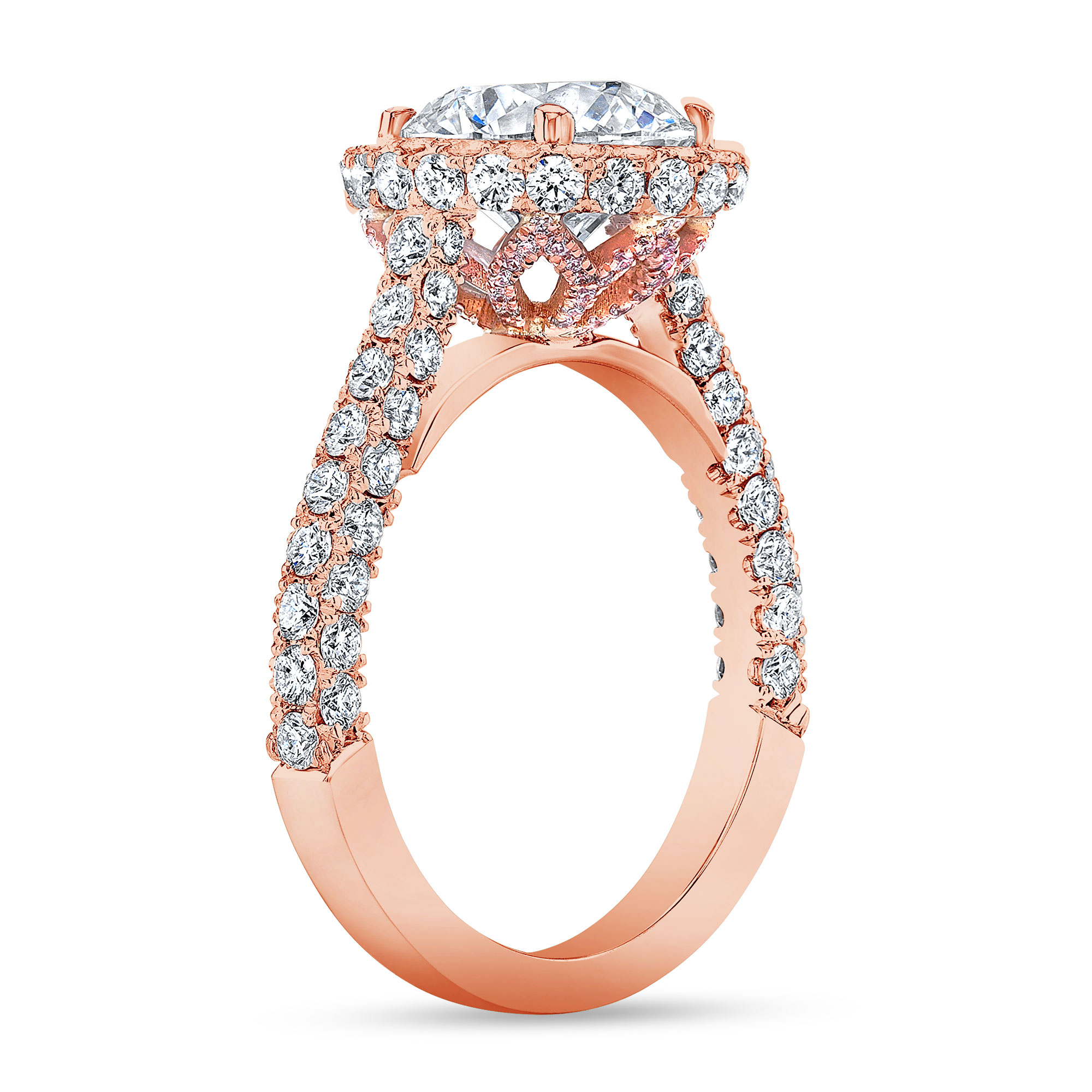 Halo 3 Sided Pave Engagement Ring  With Pink Diamonds