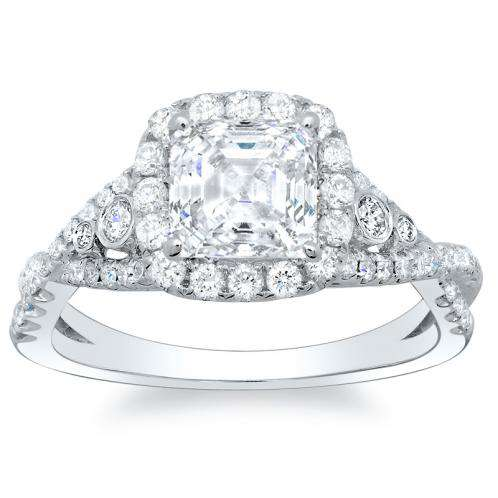 Natural Diamonds Halo Sidestones Engagement Ring Mounting