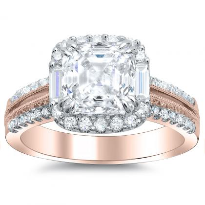 Baguette Accents Rose Gold Engagement Rings