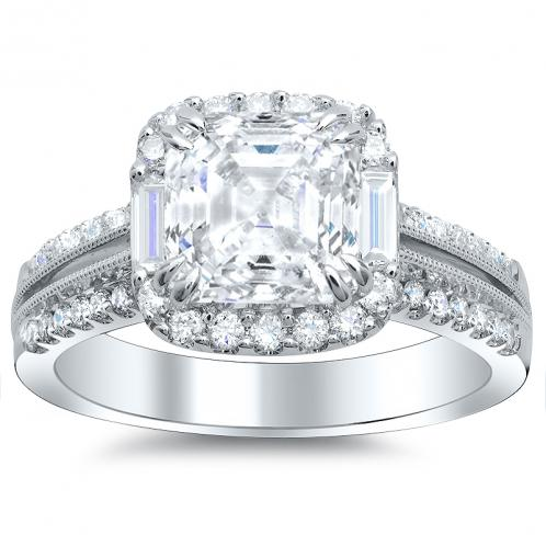 Baguette Sidestones Halo Natural Diamond Engagement Ring