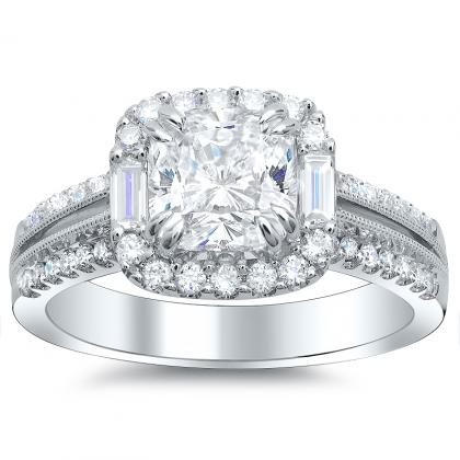 Baguette Accents Cushion cut Engagement Rings