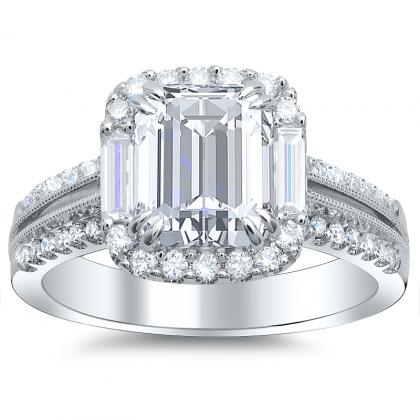 Baguette Accents Emerald cut Engagement Rings