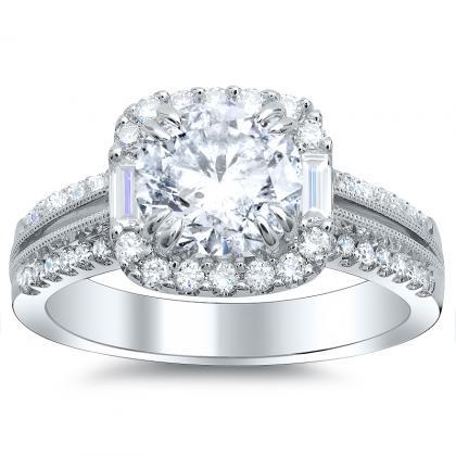 Baguette Accents Round cut Engagement Rings