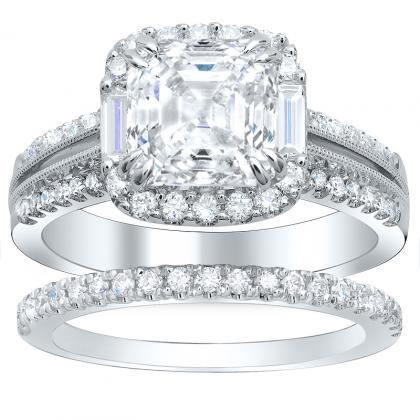 Baguette Accents Bridal Wedding Ring Sets