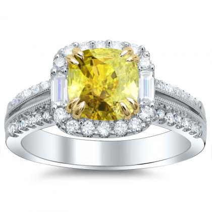 Baguette Accents Yellow Diamond Engagement Rings