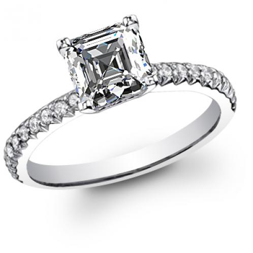 U-Prong Pave Diamond Engagement Ring